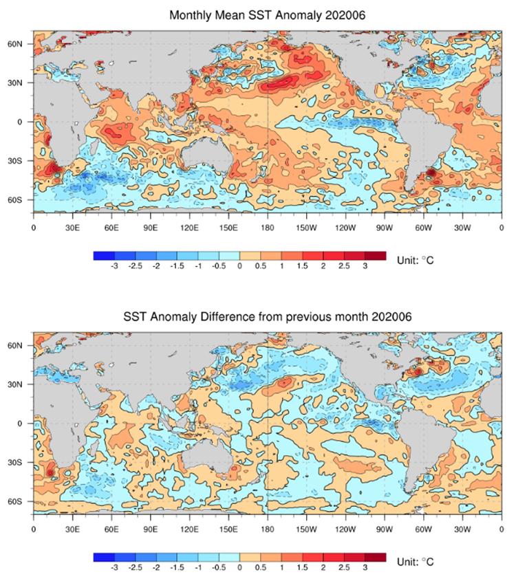 图6 2020年6月全球海表温度距平(上)及海表温度月较差(下)