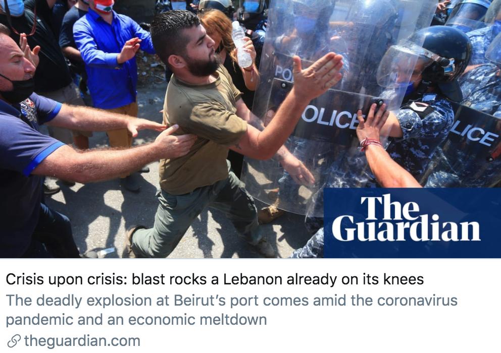 危机中的危机:爆炸使得黎巴嫩陷入瘫痪。/ 《卫报》报道截图