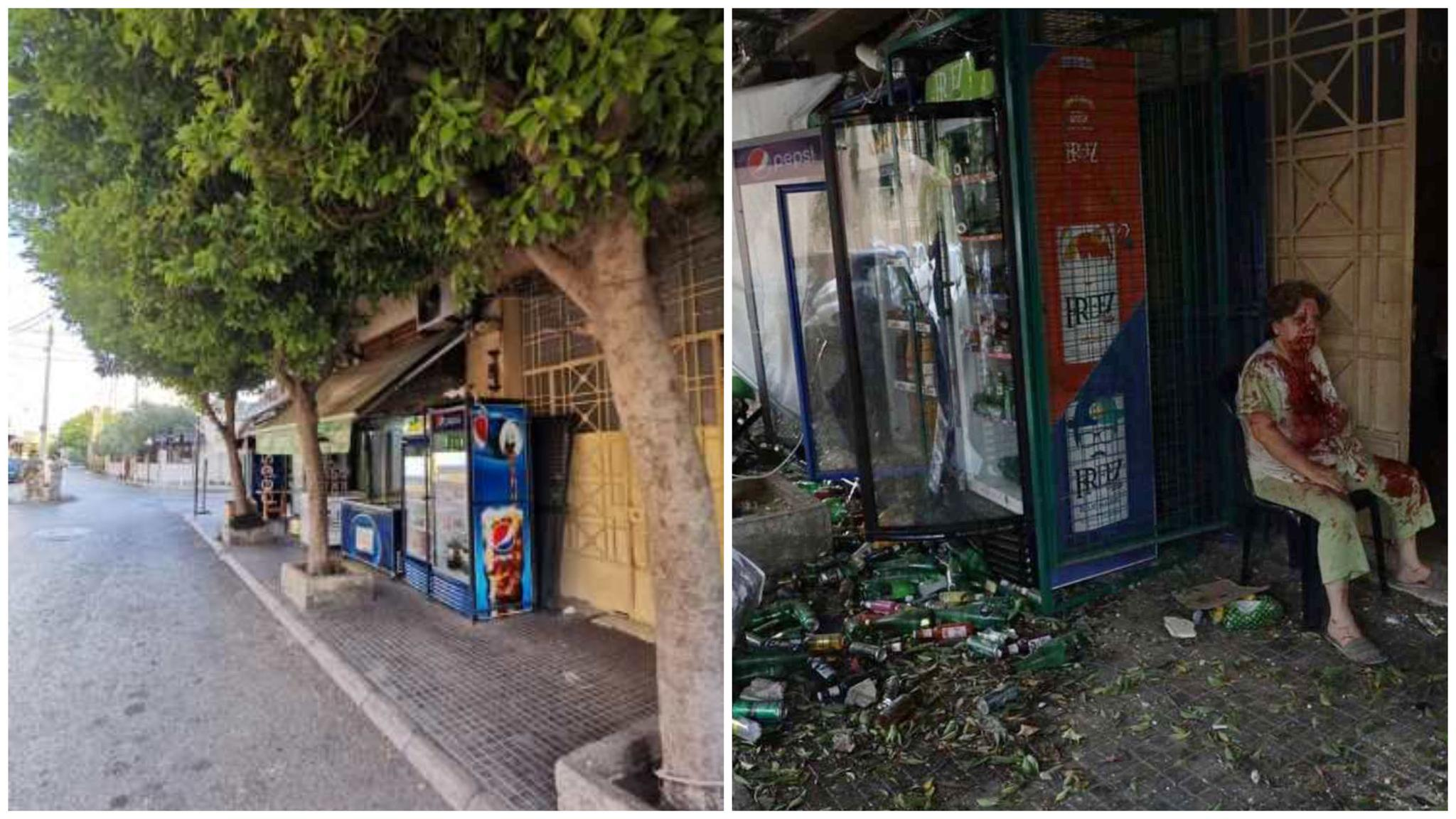 一家超市爆炸前后对比图。受访者供图