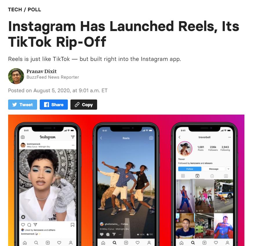 美国媒体惊呼:Facebook这是在赤裸裸地抄袭TikTok