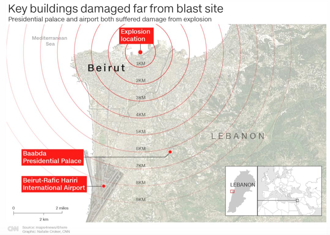 爆炸影响范围。/截图自CNN