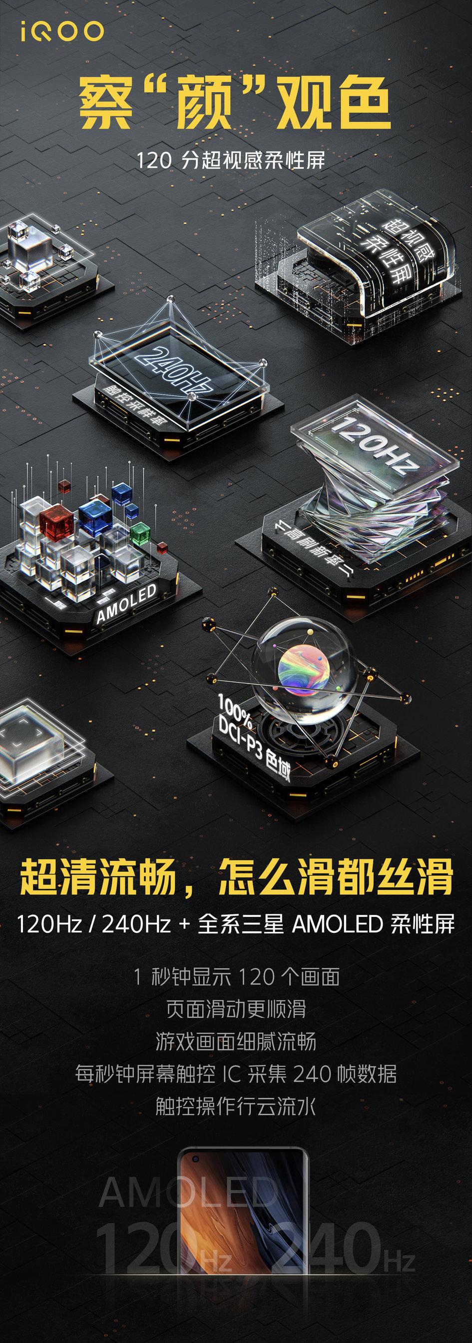 iQOO 5 屏幕参数公布:120Hz 超视感 AMOLED 屏