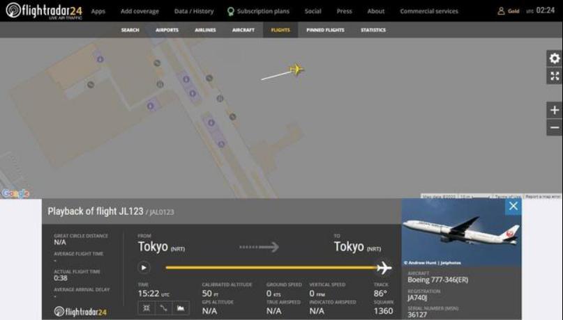 """成田机场惊现"""" JL123""""航班踪迹 图源:""""Flightradar24"""""""