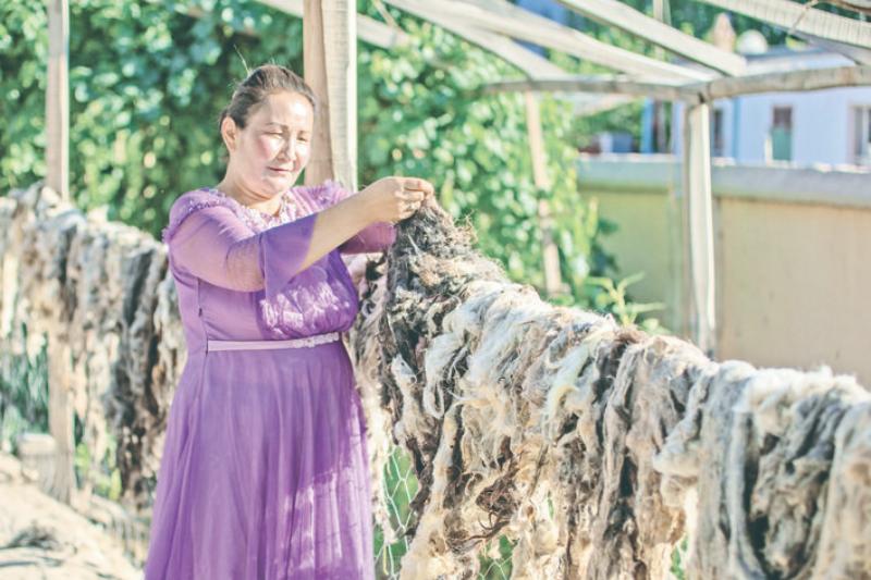 乌什县:制作毛织品 拓宽增收路