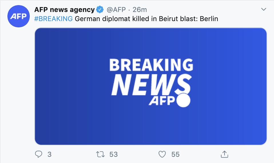 外媒:有德国外交人员在黎巴嫩爆炸事件中丧生