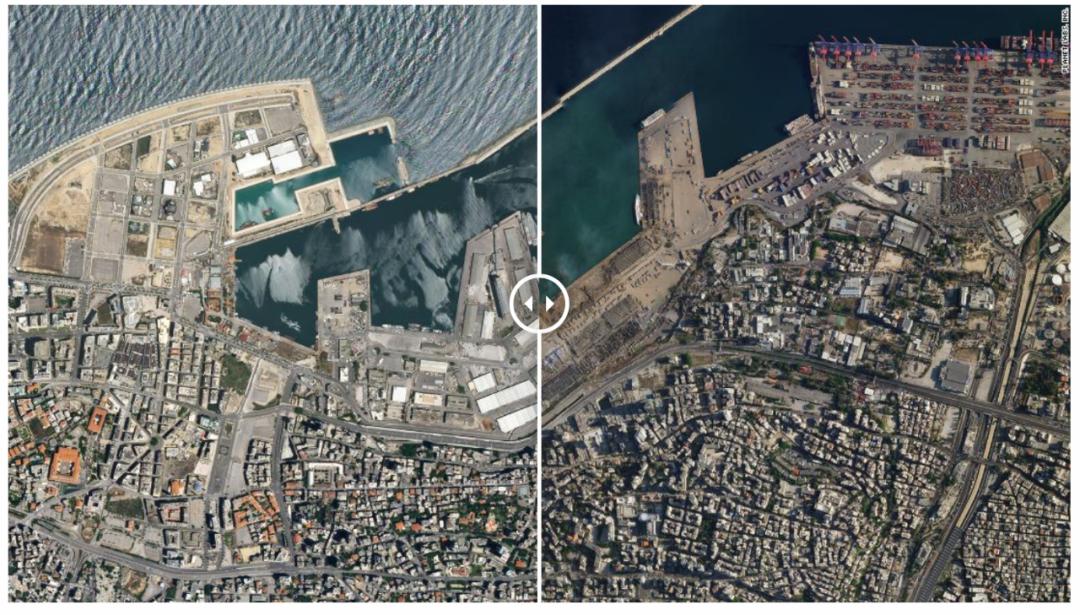 贝鲁特港口爆炸前后对比。/截图自CNN
