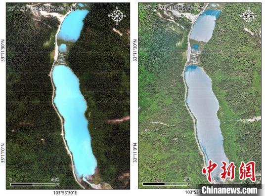 犀牛海水体影像比拟:地动刚产生后(2017年8月10日,左);地动近三年后(2020年6月9日,右)。中科院空天院付碧宏研究员团队 供图