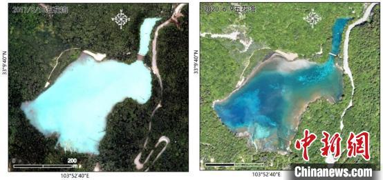 五花海水体震后(2017年8月10日,左)和经由近三年的修复(2020年6月9日,右)的遥感影像比拟。中科院空天院付碧宏研究员团队 供图