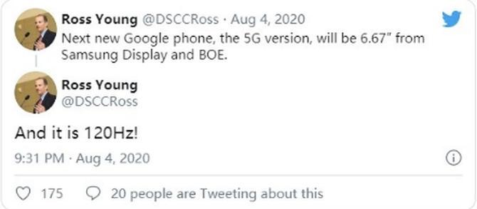 谷歌全新手机曝光:6.67英寸,支持120Hz刷新率