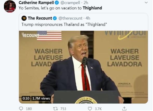 特朗普说错话了 迅速上热搜