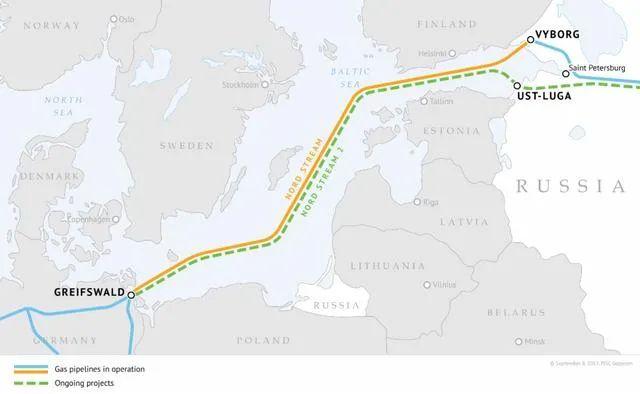 """""""北溪-1""""、""""北溪-2""""管道线路示意图,其中黄色为""""北溪-1"""",绿色为""""北溪-2""""(图源:俄罗斯天然气工业股份公司官网)"""