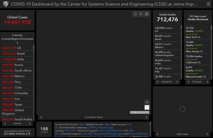 图片来源:美国约翰斯·霍普金斯大学统计数据网站截图