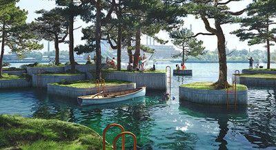 建筑师将在哥本哈根港口处建新型浮岛群公园