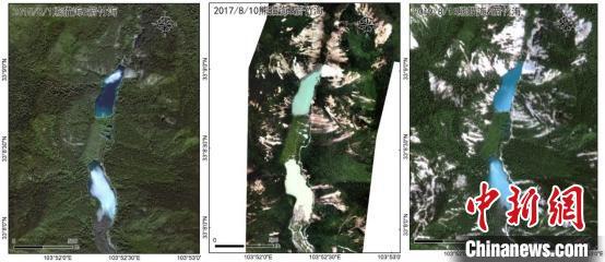 熊猫海与箭竹海的水体景观:地动前(2015年8月1日)、地动刚产生后(2017年8月10日)、震后两年(2019年8月16日)的遥感影像比拟(从左至右)。中科院空天院付碧宏研究员团队 供图