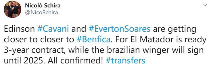 记者:卡瓦尼与埃弗顿即将加盟本菲卡
