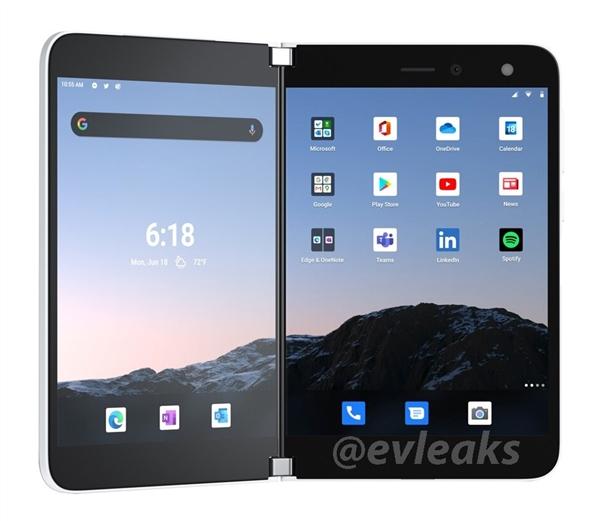 微软回归手机市场!Surface Duo渲染图曝光:骁龙855/双屏