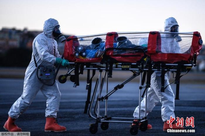 """当地时间2020年7月22日,巴西米纳斯吉拉斯州贝洛奥里藏特潘普利亚机场,当地军事部队成员身穿防护装备,演练使用""""气泡担架""""运送新冠肺炎患者。"""