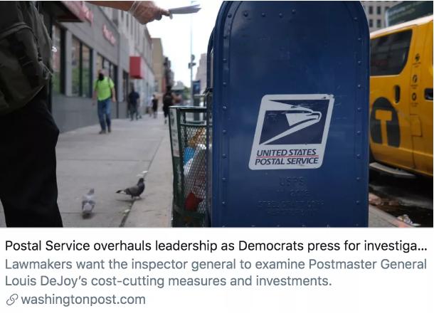 随着民主党要求对邮件配送延误进行调查,美国邮政局开始进行改革。/《华盛顿邮报》报道截图