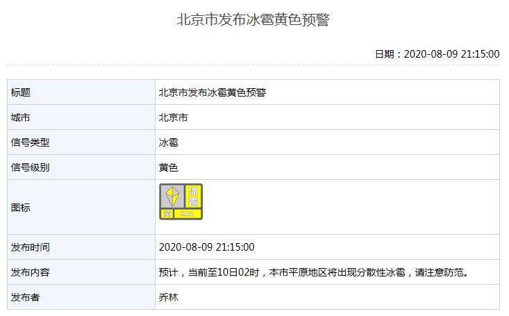北京市发布冰雹黄色预警