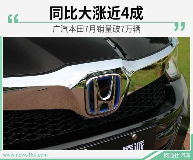 广汽本田7月销量破7万辆 同比大涨近4成