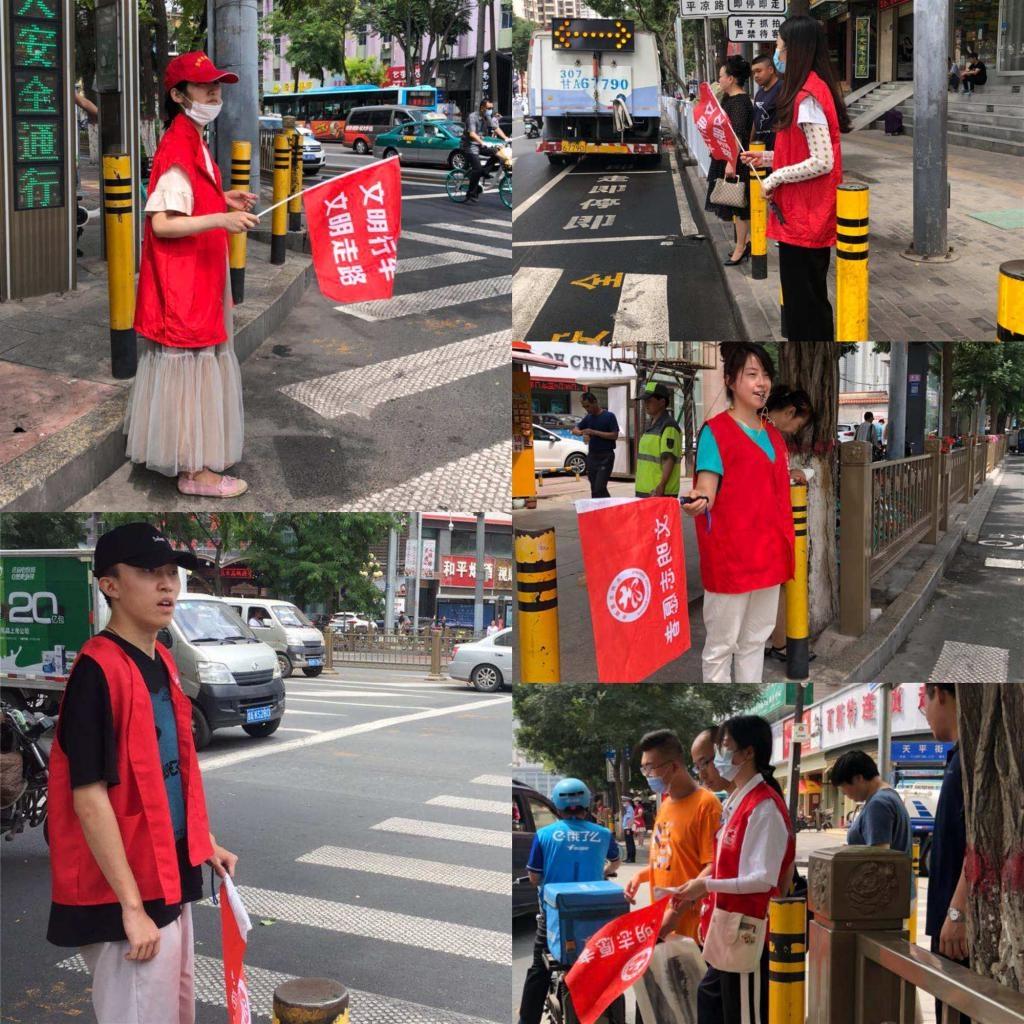 """大学生、在职党员、网格员、……这些""""红马甲""""组成交通劝导街头文明风景线"""