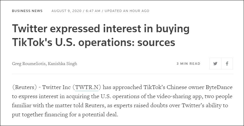 推特加入!与TikTok洽谈合并美国业务可行性