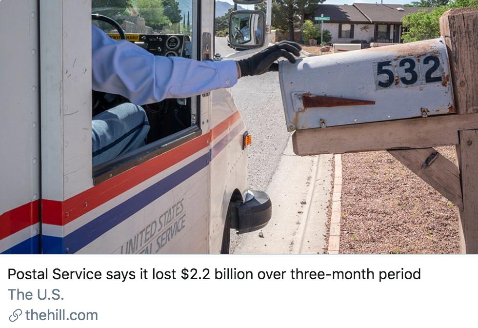 美国邮政局声称在过去的3个月中,损失了22亿美元。/《国会山报》报道截图