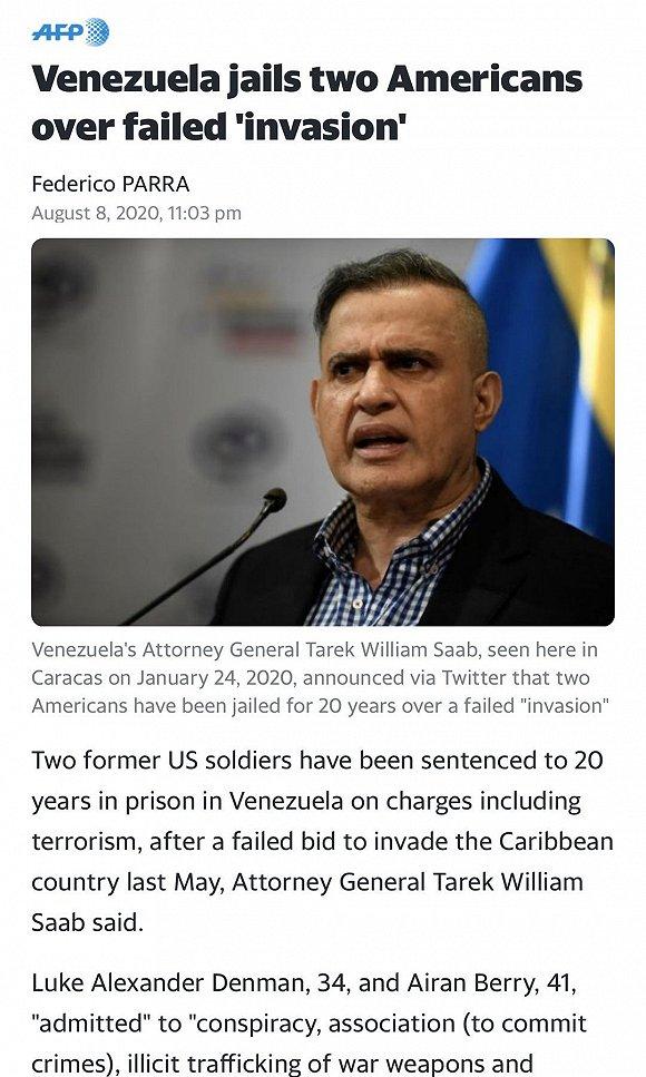 法新社:委内瑞拉以恐怖主义等罪名判处2名前美国士兵20年监禁