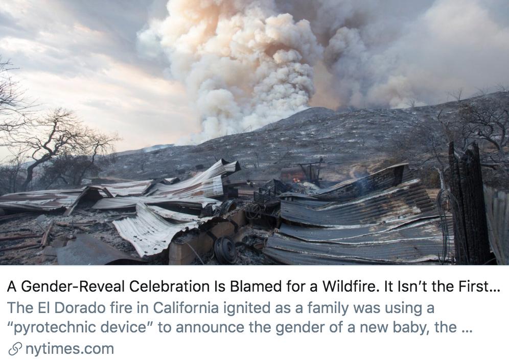 胎儿性别揭晓派对引发野火后备受指责,但这已经不是第一次了。/《纽约时报》报道截图