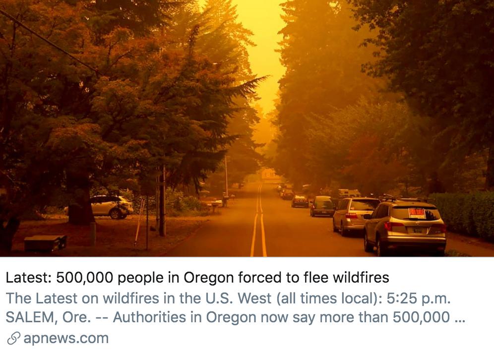俄勒冈州50万名居民因野火而被迫撤离。/美联社报道截图