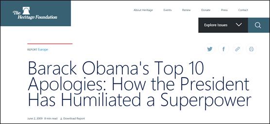 美国右派智库传统基金会刊文:《奥巴马的十次道歉:总统是怎么羞辱美国这个超级大国的》