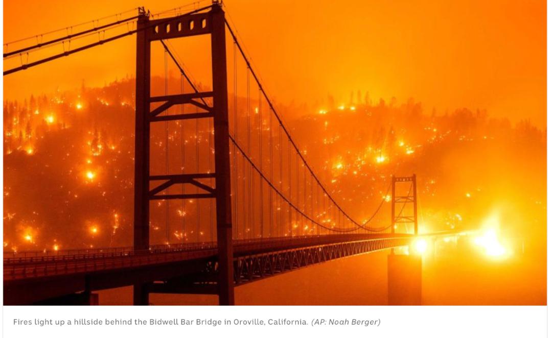 野火产生的烟尘遮盖了旧金山湾区的上空。/ 美联社