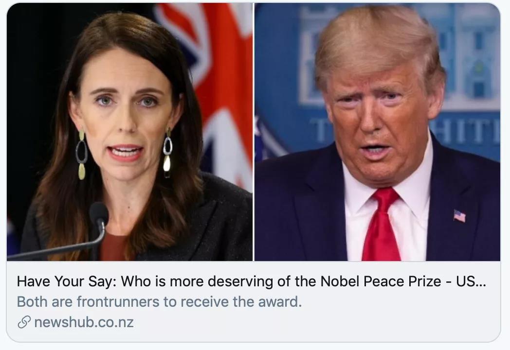 阿德恩和特朗普谁更可能获奖?/newshub报道截图