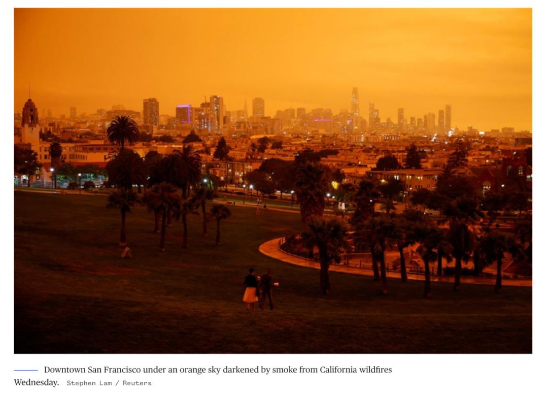 当地时间9月9日,旧金山市中心的天空被加州野火的烟尘覆盖。/路透社