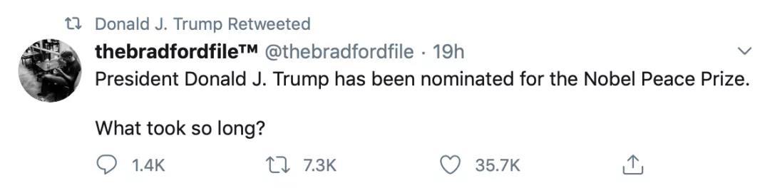 特朗普转发支持者推特。
