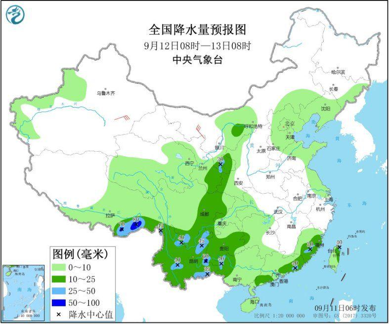 全国降水量预报图(9月12日08时-13日08时)