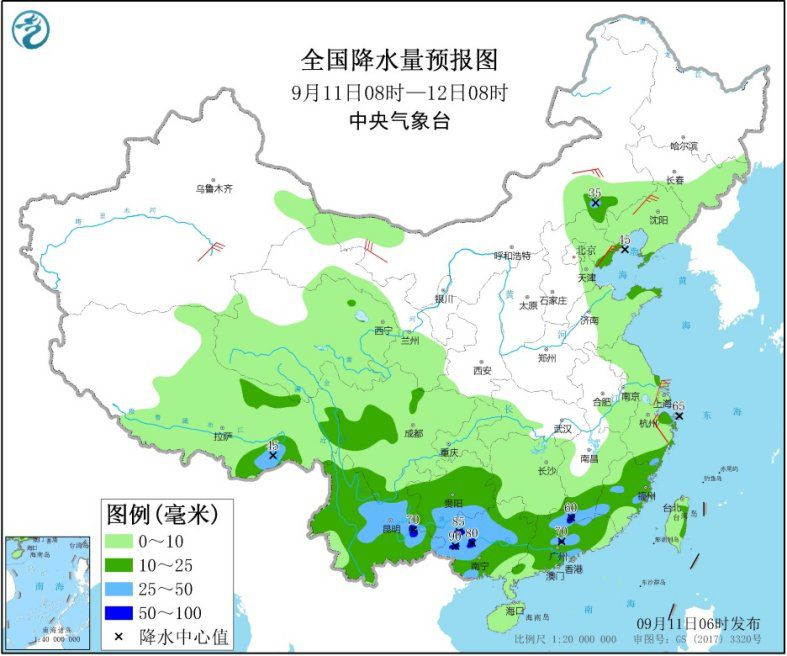 全国降水量预报图(9月11日08时-12日08时)