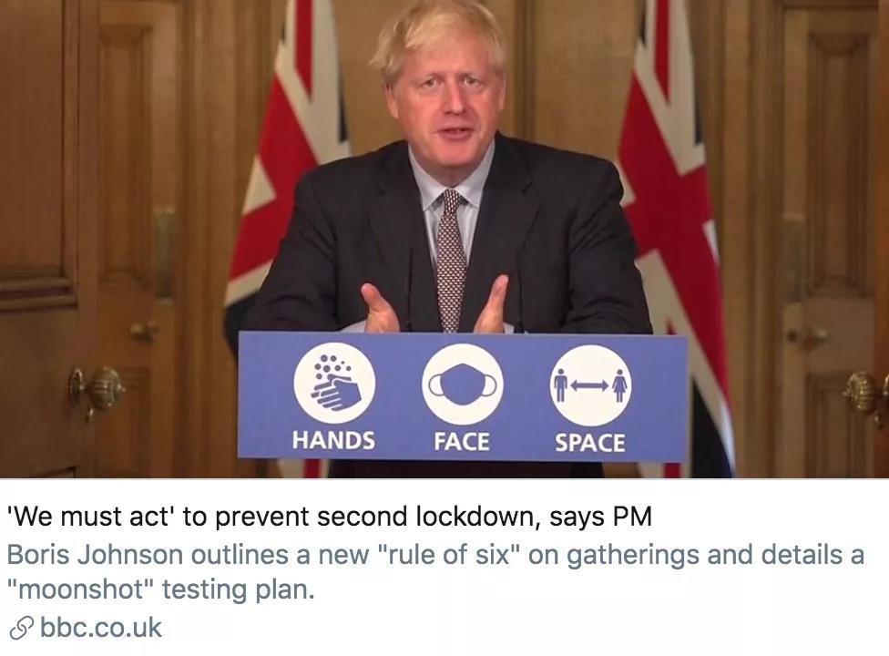 英国第二波疫情正在到来 约翰逊呼吁民众减肥抗疫