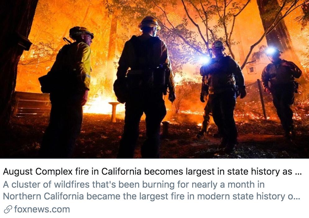 8月复合大火已经成为该州历史上最大的一场火灾。/福克斯新闻报道截图