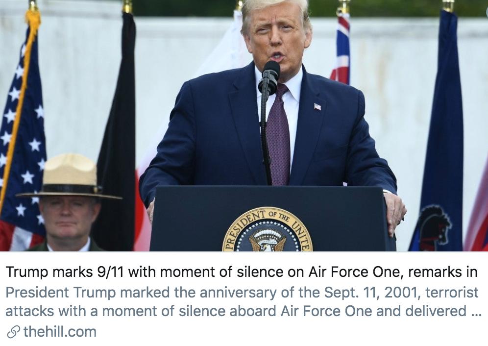 """为纪念""""9·11""""事件,特朗普在空军一号上默哀,并在宾夕法尼亚州发表讲话。/《国会山报》报道截图"""