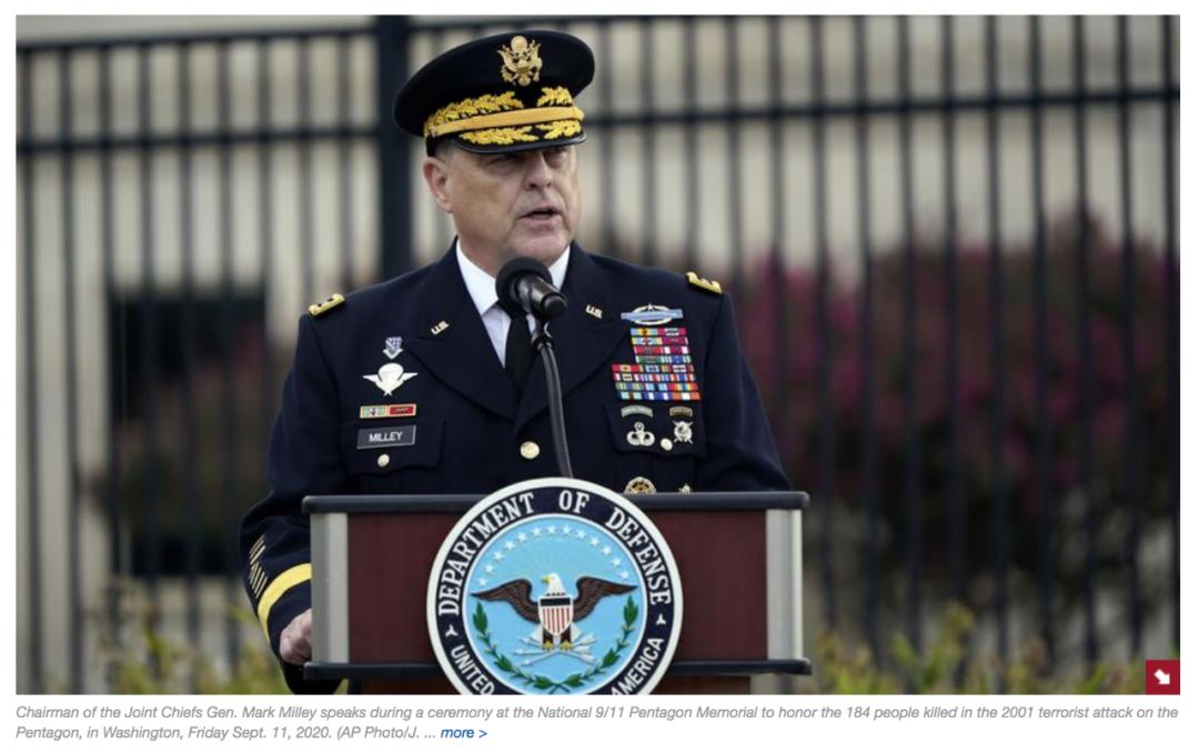 军参谋长联席会议主席马克·米利致辞。/美联社