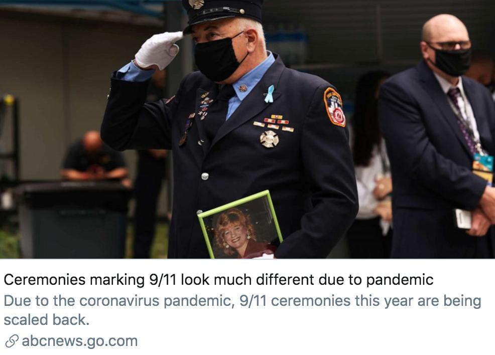 """由于新冠肺炎疫情,""""9·11""""事件的纪念活动看起来与以往不同。/美国广播公司报道截图"""