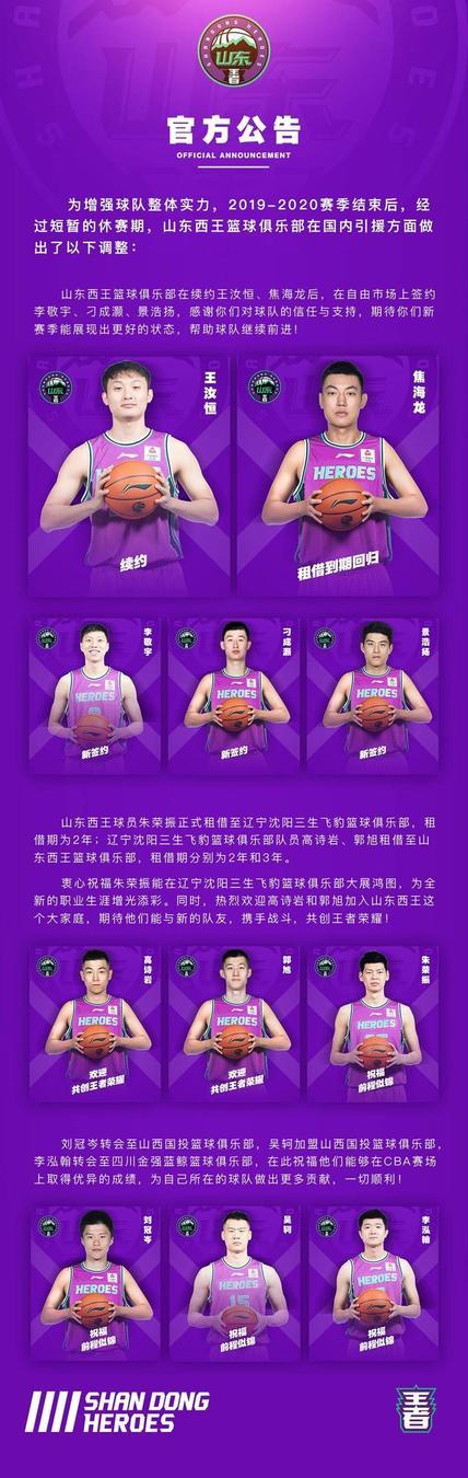 后卫线上辽宁两名球员前来增援,下赛季的山东男篮非常值得期待