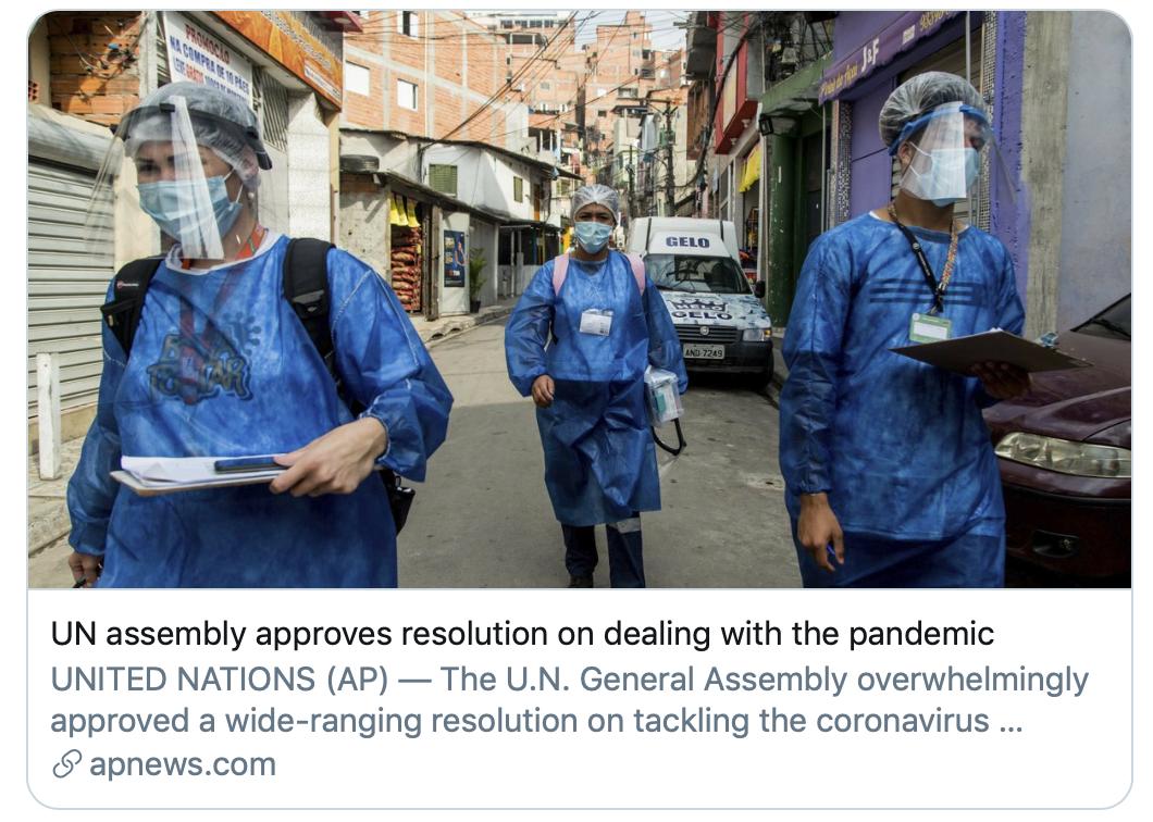 联大通过疫情应对决议。/美联社报道截图