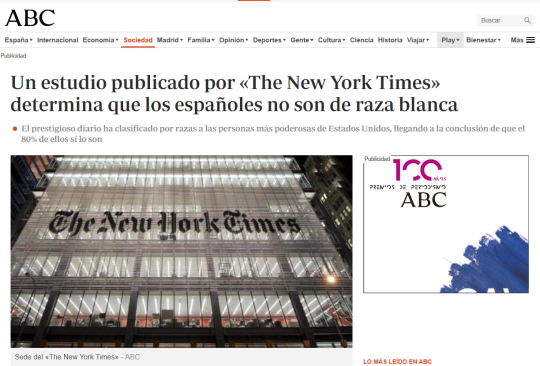 不是白种人?《纽约时报》最新研究气炸西班牙人