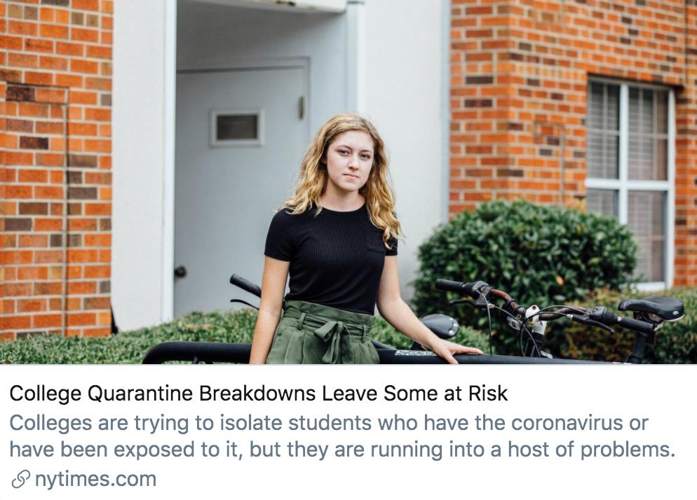 高校隔离系统的缺陷或使部分学生处于危险之中。/《纽约时报》报道截图