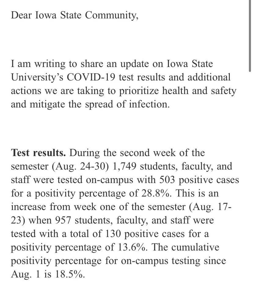 艾奥瓦州立大学校长发送的邮件。/受访者供图