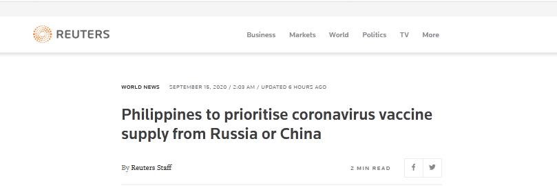 菲总统:优先采购中俄疫苗,西方国家只知道利润、利润、利润图片