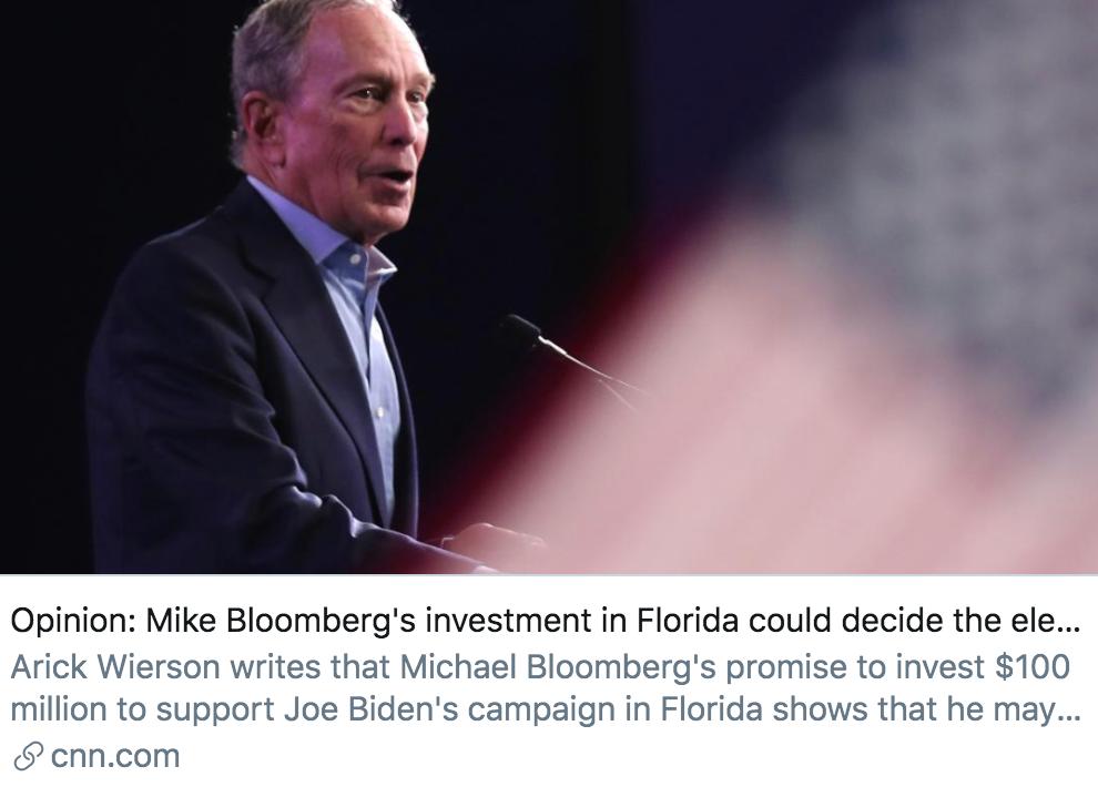 布隆伯格在佛罗里达州投入的资金,或将决定总统大选结果。/ CNN报道截图