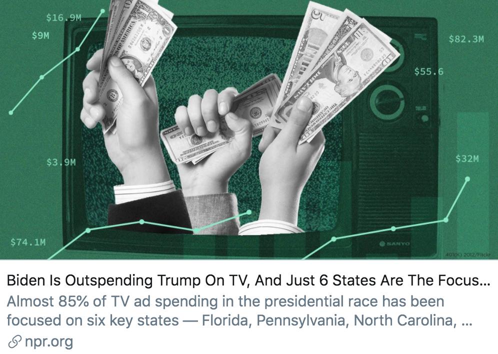 拜登电视广告的支出超过了特朗普,6个州是竞选焦点。/美国国家公共电台报道截图